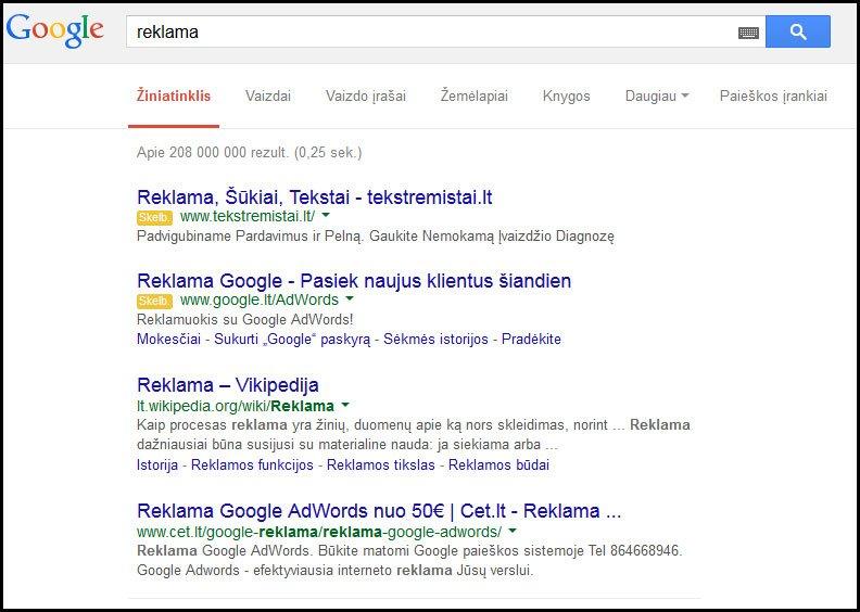 """[cml_media_alt id='3565']2 pav. Raktinės reklamos """"Google"""" paieškos sistemoje. [/cml_media_alt]"""